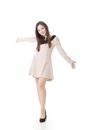 Elegant Asian woman ,full length portrait isolated on white background