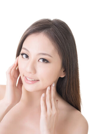 Asian beauty face closeup portrait with clean and fresh elegant lady  Studio shot  photo