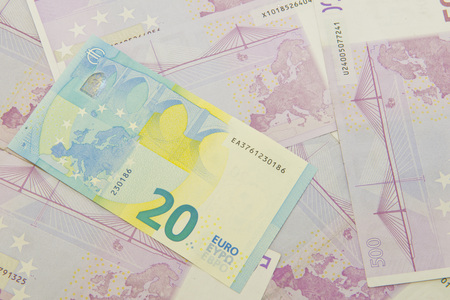 New Euro money on euro currency background