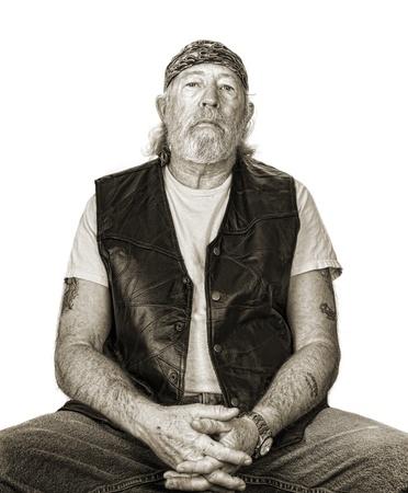 tough: Monochrome of tough old man with sepia toning Stock Photo
