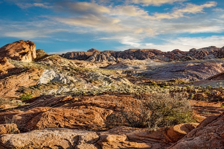 Rocky landscape in Valley of Fire at sunset Stock Photo