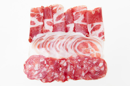 Cold cuts on white background photo