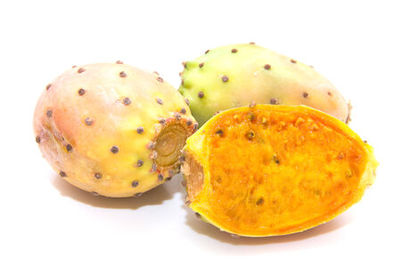 Prickly pears fresh on white background