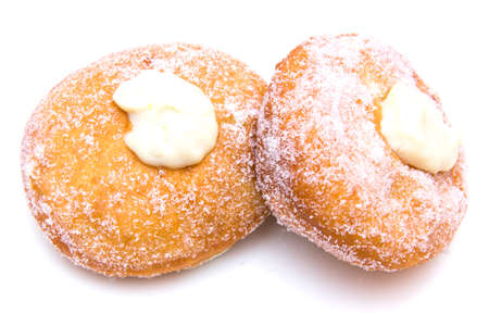 Donuts with sugar on white background photo