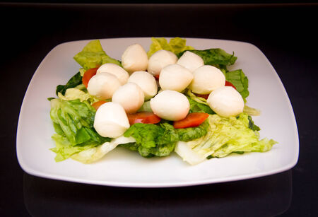 Salad with tomatoes and mozzarella on a black background photo