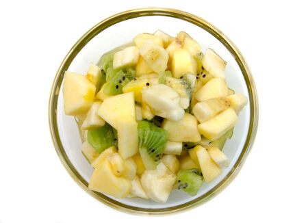 heathy diet: Bowl with fruit salad on white background top view