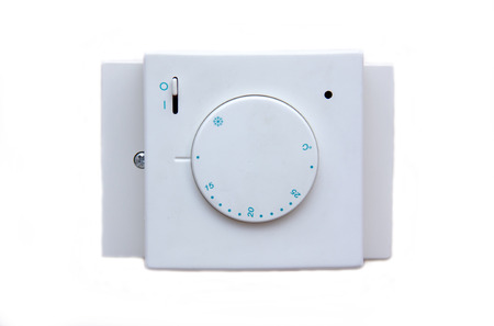 temperature controller: Temperature controller on white background viewed from the front