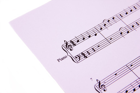 minuet: Musical score on white background seen close