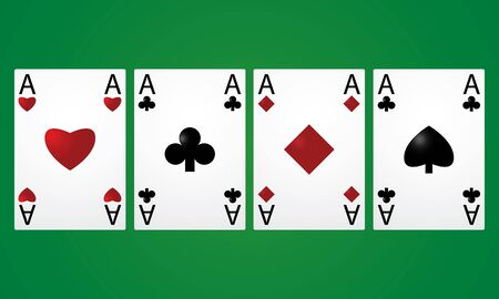 aces: Four aces in a row on a green background