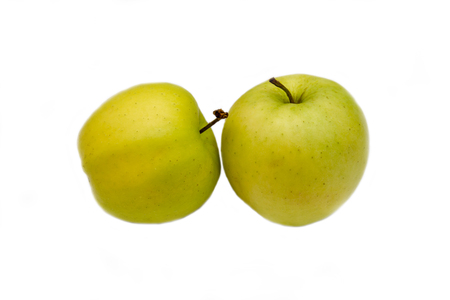 Two yellow apples on a white background 免版税图像 - 118088550