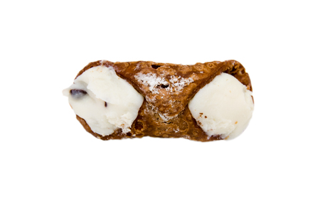 Sicilian cannolo on a white background seen from above