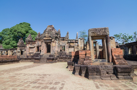 Prasat Muang Tam historical park castle rock about a thousand years ago at Buriram province,Thailand