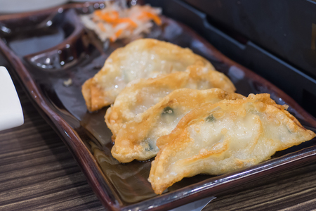 Fried Pork Dumplings Recipe serve in black modern dish with black sauce