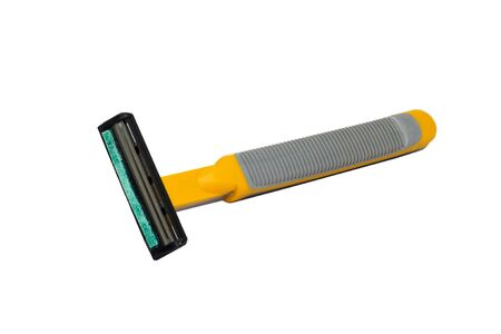 Used razor yellow portable isolated on white background