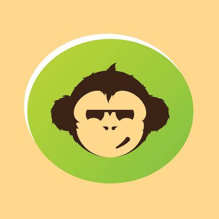ellipse: Monkey head. Monkey face in ellipse icon. Illustration
