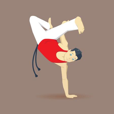 handstand: Handstanding capoeirista. Capoeira man. Capoeira element. Capoeira acrobatic.
