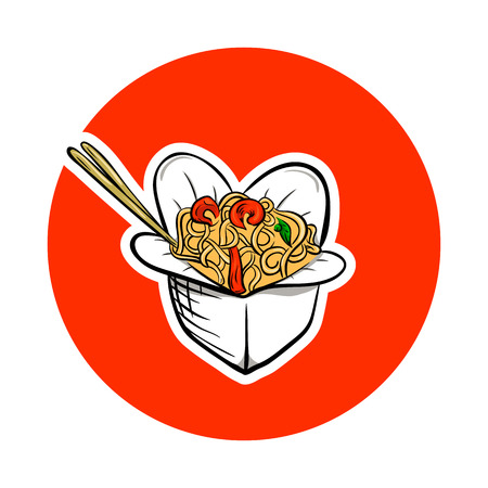 lunch food: Chinese food box, asian food Illustration