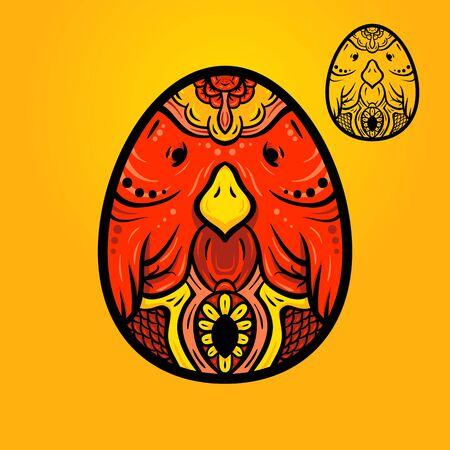 ethno: Easter egg, egg-bird ethno ornament, hand-drawn egg, hand-drawn bird.