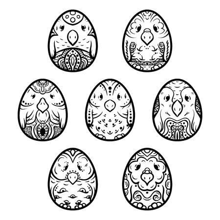 ethno: Easter eggs, egg-birds set, eggs for coloring, ethno ornament, hand-drawn eggs. Illustration