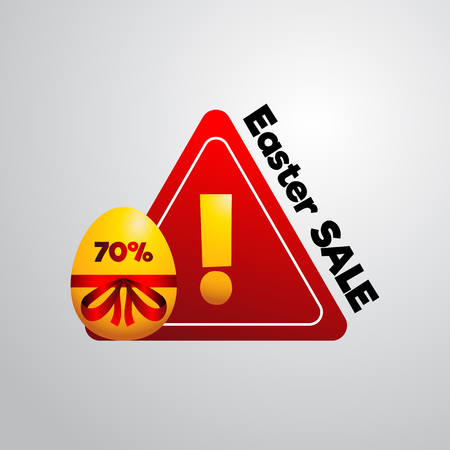 point of sale: Golden easter egg a discount label, easter sale, attention triangle with exclamation point Illustration