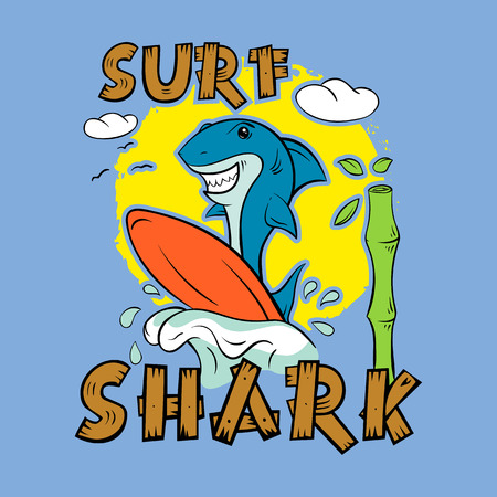 Shark surfer. Print for T-shirt. Surfboard child's drawing. The cheerful cartoon shark.