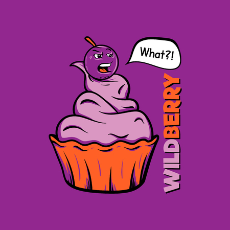 wild berry: T-shirt print. Wild berry on the cake. Insolent berry grumbles.