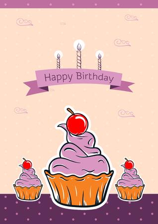 illustraton: happy birthday card design. vector illustraton. cute greeting card Illustration