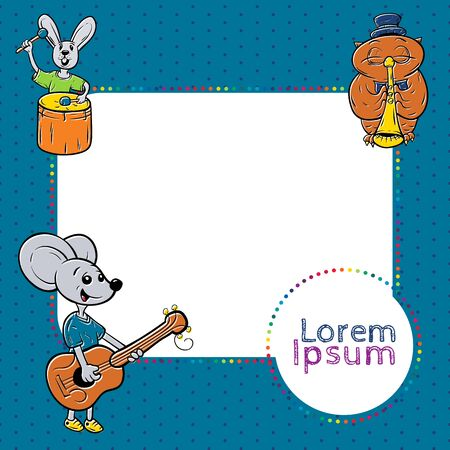 child clipart: kids frame with animals, musician. cute kids frame template