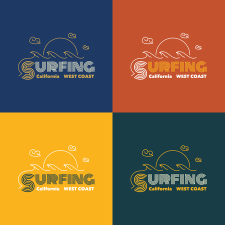 coast: Vector illustration on the theme of surfing in California. west coast, t-shirt graphics, vintage illustration, emblem, vector