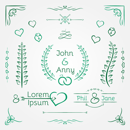 Wedding graphic set, arrows, hearts, laurel, wreaths and labels.