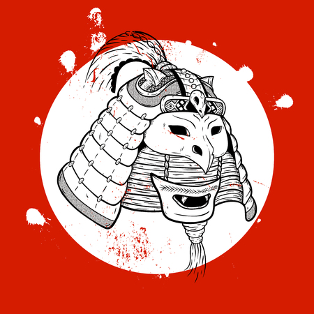 samurai warrior: Samurai warrior. Print for T-shirt. New concept of the samurai.