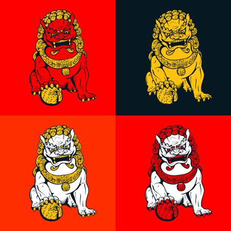 chinese temple: Handdrawn oriental tiger, asian lion, chinese temple guard