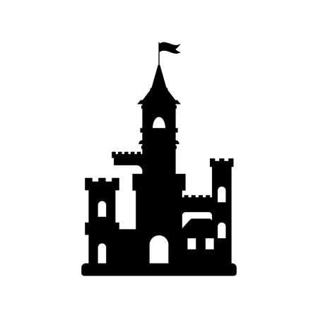 castle silhouette: flat castle icon, abstract medieval kids castle silhouette