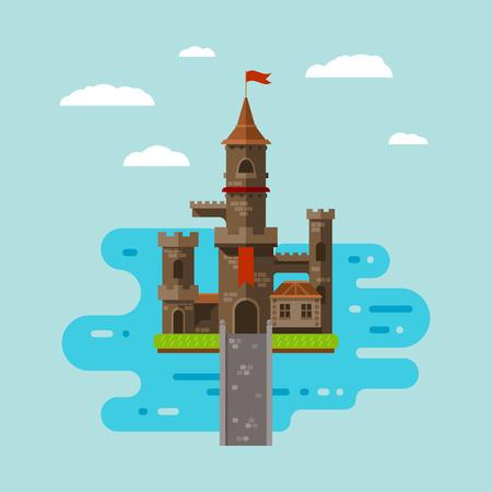 art du château plat, abstrait enfants médiévales fond