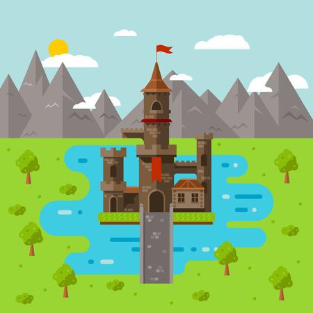 art du château plat, abstrait enfants médiévales fond Vecteurs