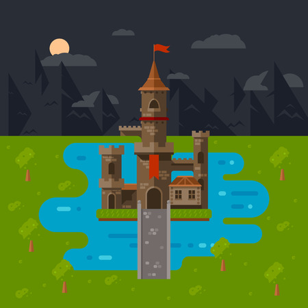 flat castle art, abstract medieval kids background