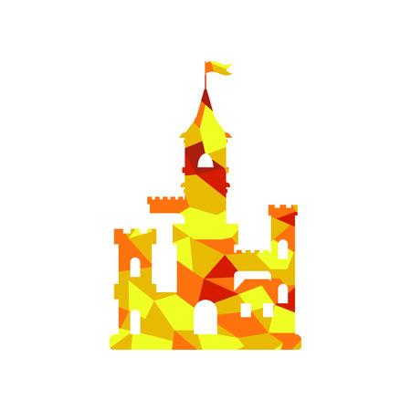 plat icône du château, abstraites enfants médiévale château silhouette