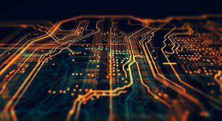 オレンジ、緑の技術背景回路基板およびコード。3 d イラストレーション
