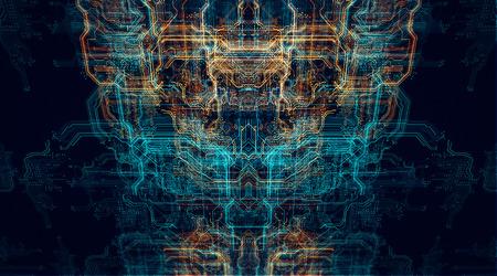 3 d イラスト。オレンジ、緑、青の技術背景回路基板およびコード。
