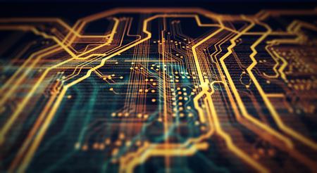オレンジと緑の技術背景回路基板およびコード。3 d イラストレーション 写真素材