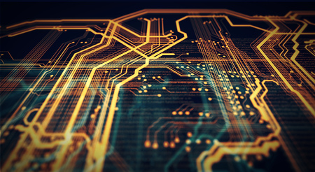 Orange and green technology background circuit board and code. 3d Illustration 写真素材