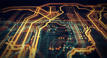 Naranja y verde placa de circuito de fondo de tecnología y código. Ilustración 3d