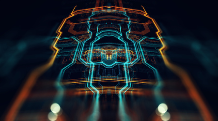 回路基板未来サーバー コード処理。オレンジ、緑、青の技術背景ボケ味を持つ。3 d イラストレーション