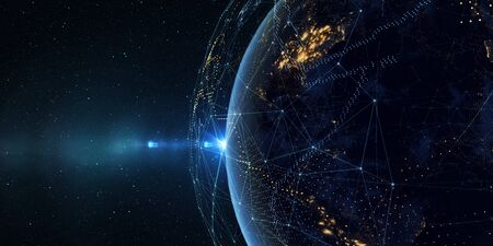 Earth from space at night with a digital communication system. Some elements of the image provided by NASA. 3D rendering