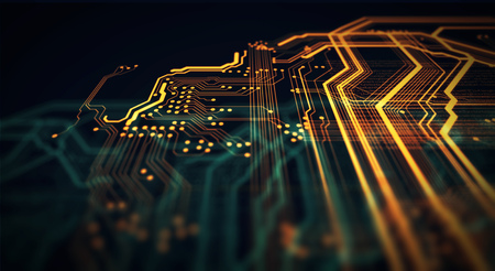 Orange and green technology background circuit board and code. 3d Illustration Archivio Fotografico