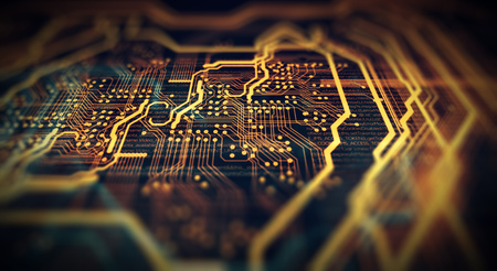 Orange and green technology background circuit board and code. 3d Illustration