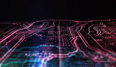 技術背景の赤と青の色、回路基板およびコード。3 d イラストレーション