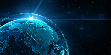 Connection lines Around Earth Globe, Futuristic Technology  Theme Background with Light Effect, 3D illustration Stok Fotoğraf