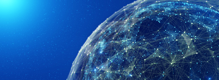 Connection lines Around Earth Globe, Futuristic Technology  Theme Background with Light Effect, 3D illustration Stock Photo