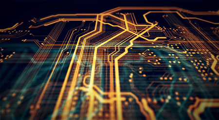 Orange and green technology background circuit board and code. 3d Illustration Stock Photo